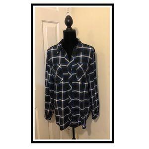 Michael Kors Plaid w/Rhinestone Gems Shirt..Size L